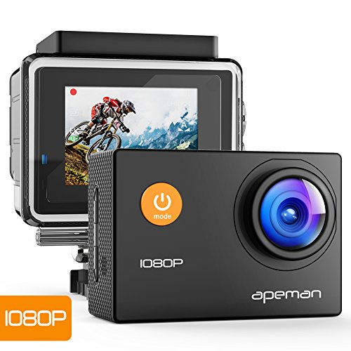 APEMAN Action Cam Full HD 1080P con Custodia Impermeabile Subacqueo (Nero)