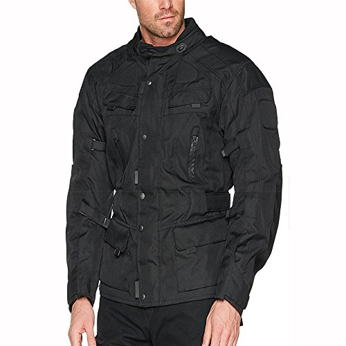 BIKERS-GEAR-nero-Tab-Collection-impermeabile-CE1621--1-rimovibile-Armour-ventilato-giacca-da-motociclista-nero