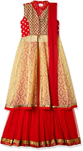 Elaisha Girl's Regular Fit Ghagra Choli (GC-11_Red_7-8 years)