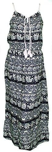 Mevina Damen Kleid Gipsy Hippie Paisley Blumen Flower Muster lang Sommerkleid süßes Urlaubskleid Dunkelblau