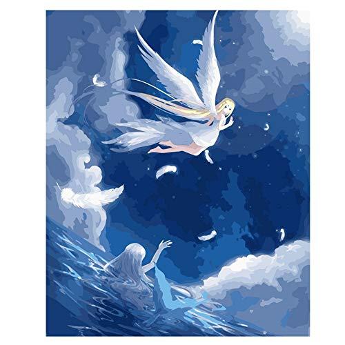 RYUANYUAN Engel Malen Nach Zahlen Abstrakt Schöne Fischöl Gemälde Auf Leinwand Mädchen Klavier Dekorative Gemälde Acryl Wohnkultur 60x80cm Gerahmt (Natur Fischöl)