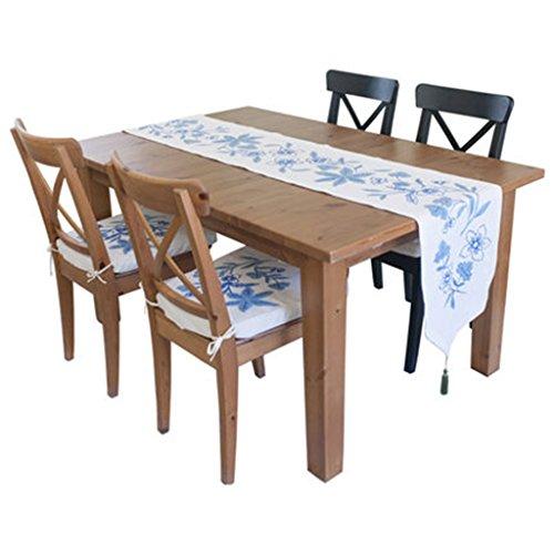 QiangZi Chemin De Table Bleu Main Broderie Table Basse Tissu Salon Cuisine De Mariage Nappe Salon Cuisine Bureau Table Basse Shoebox \
