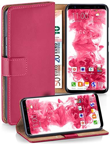 moex Booklet mit Flip Funktion [360 Grad Voll-Schutz] für Samsung Galaxy S8 Plus | Geldfach und Kartenfach + Stand-Funktion und Magnet-Verschluss, Pink