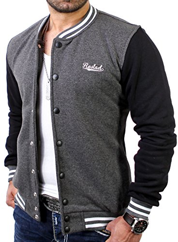 Reslad Herren Jacke Authentic Collegejacke RS-1150 Anthrazit-Schwarz M