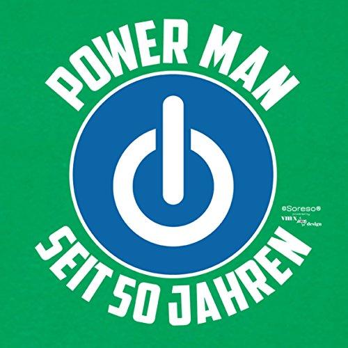 Für Männer Geschenk zum 50. Geburtstag Herren T-Shirt als Geschenkidee für Ihn zum runden Geburtstag Powerman seit 50 Jahren auch Übergrößen 3XL 4XL 5XL .. Farbe: hellgrün Hellgrün