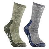 YUEDGE 2 Pairs Men's Merino Wool Hiking Walking Trekking Socks Merino Wool Cushioned