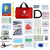 190 Pezzi Kit di Pronto Soccorso, Confezione Ghiaccio Coperte di Emergenza Maschera CPR, Borsetta per la Sopravvivenza del Sacchetto Medico, per Auto, Casa, Campeggio, Viaggi