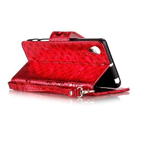 FESELE étui en Cuir pour Sony Sony Xperia X Performance,Coque Housse Etui pour Sony Sony Xperia X Performance,PU étui en Cuir Avec un Design Modèle Laser Papillon,Style de Style Fermeture Magnétique P Rouge
