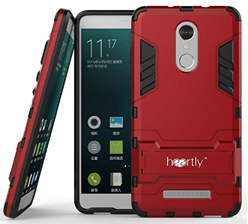 Heartly Graphic Designed Kick Stand Hard Dual Rugged Armor Hybrid Bumper Back Case Cover For Xiaomi Mi Redmi Note 3 - Hot Red