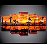czxmp (Sin Marco) Pintura Abstracta Arte De La Pared Sala De Estar Decoración Impresiones Cartel 5 Piezas Costa Tropical Puesta De Sol Paisaje Lienzo Fotos