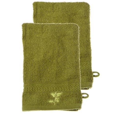 Set di 2 guanti da bagno, 100% cotone, modello: natura, colore: verde