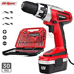 Apollo 18V Pro Combo Cordless Drill Driver 1000mAh Ni-MH Battery 17 Position Keyless Clutch, Variable Speed Trigger with 30 Piece Drill & Screwdriver Bit Accessory Set in Compact Storage Case