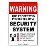 Eugene49Mor Warnschild mit Sicherheitsschutz, kabellos, Überwachung, Videoüberwachung, Batterie-Backup, 24/7 Polizeiversand, aus Aluminium, 20,3 x 30,5 cm