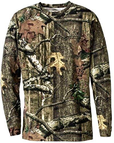 Herren Dschungel Druck Tarnung Kurzarm T-Shirt Camo Jagd Normal und Plus Size Top (2XL, Dschungel Druck Lange Ärmel) -