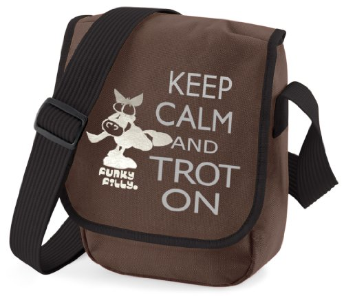 Funky Filly Ragazza Pony 'Keep Calm Trot On�?Piccola Borsa a Tracolla Marrone Dimensioni 23x17x7 cm marrone