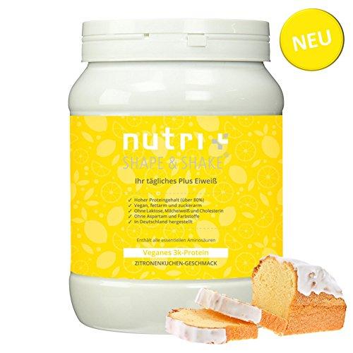 Protein Vegan Zitronenkuchen 500g - Veganes Proteinpulver ohne Aspartam, Laktose & Milcheiweiß - 83,8% Eiweiß - Nutri-Plus Shape & Shake Vegan (Soja-protein-shakes Frauen)