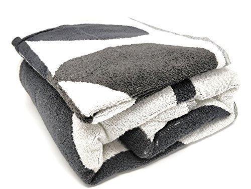 Schwarzen Von Satz Handtücher (3 Stück Orla Kiely Blatt Stiel grau 100% Baumwolle 580gsm Hand Bade & blatt-satz)
