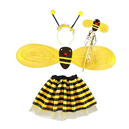 Gazechimp Bienen Set Haarreif Fühler Flügel tutu Rock Fee Halloween Fancy Party Kostüm