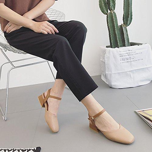 Baotou Correspond À Des Sandales Boucle Avec Korean Épais Avec Des Chaussures Rétro - Grand - Mère Light pink