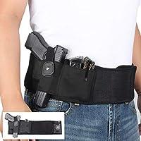 SIZIMA® Funda de Pistola de Banda de Vientre Elástico Negro, para Transporte Oculto, Funda de Pistola Ajustable en la Cintura, Soporte con Bolsillo de Repuesto para Revólveres Glock, Mano Derecha