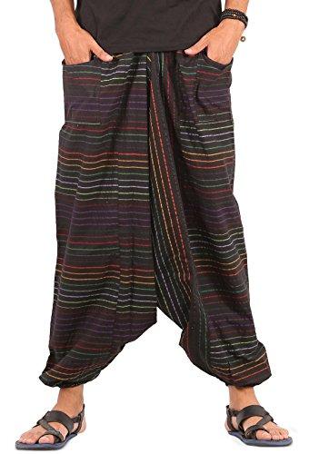 The Harem Studio Haremshose Herren Damen Aladinhose alternative Kleidung Pumphose Shalwar Hose Aladinhose Goa Hose - Streifen Stil Schwarz