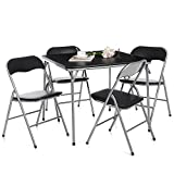 iKayaa 5tlg Klappbar Essgruppe Tischgruppe Multi-Funktions Tisch Set aus 1 Tisch + 4 Stühle