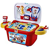 TE-Trend Arztkoffer Set fahrbare Kinder Spielkiste auf Rollen mit 21-teiligen Zubehör Arzt Spielzeug