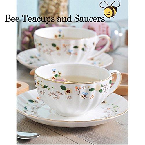 Porcelana Taza de té y Platillo Conjunto Taza de Café Flores de mariposa Set de Tazas Café