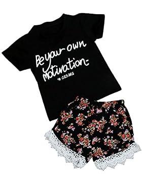 SMARTLADY 1 Conjuntos 2~7 años Niñas Camiseta + Pantalones cortos de Encaje Floral