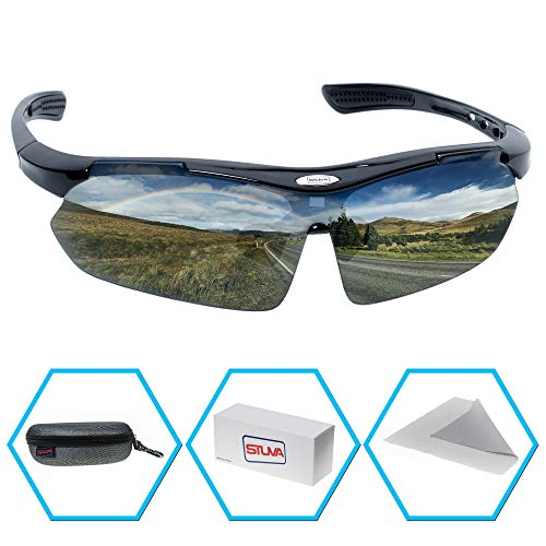 STUVA Sport Sonnenbrille - für Herren und Damen - Schwarz Polarisiert Brille - Schutz vor Ray - Sportbrille zum Fahrrad Golf Jogging Running - Fahrradbrille - Sonnenbrillen - by