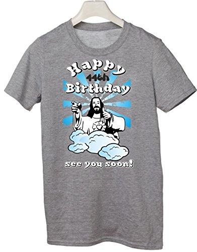 Tshirt Compleanno Happy 44th birthday see you soon - Buon 44esimo compleanno ci vediamo presto - jesus - humor - idea regalo - in cotone Grigio