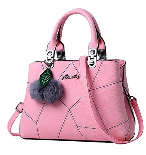 Baymate Frauen Umhängetasche Handtasche Satchel Messenger Tasche mit Pompon-Anhänger Pink