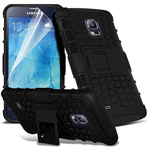Samsung Galaxy S5 Neo hülle Tasche (Grün + Kopfhörer) Slim-Fit-Abdeckung für Samsung-Galaxie-S5 Neo-hülle Tasche Haltbarer S Linie Wellen-Gel-Kasten-Haut-Abdeckung + mit Aluminium Earbud Kopfhörer, Po Shock proof + (Black)