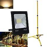 VINGO® 50W LED Fluter Baustrahler Strahler + Teleskop Stativ Lampen Warmweiss Höhenverstellbar 80cm bis 160cm Gelb