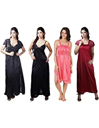 Boosah Women Satin Nighties (Pack of 4)