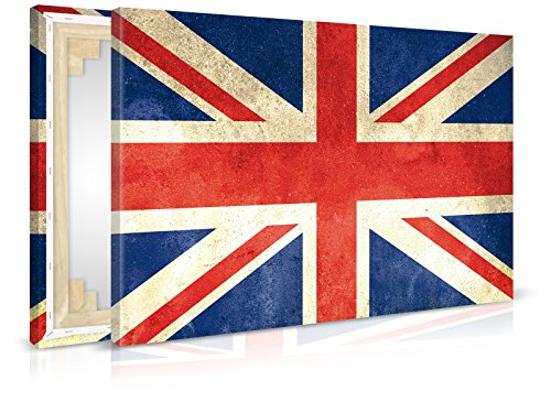 Union Jack Leinwand (XXL-Tapeten Leinwandbild Union Jack - Fertig Aufgespannt - Gemälde, Kunstdruck, Wandbild, Keilrahmen, Bild auf Leinwand von Trendwände - Format: 90x60cm, Standard: Polyester-Leinwand 2cm Rahmen)