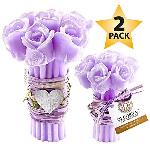 DECORNAC Konservierte Rose Kerzenset [ 2 x Duftkerze ] Handmade geschenkset für Frauen Mutter Tochter Rosenstrauß Aroma Rosen ätherische öle Dekoration wohnzimer (Lavendel (Rosen)) (Rosen-aroma)