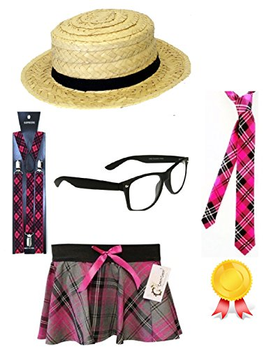 New Adult Ladies Pink Tartan School Girl Set instant Kit Straw Boater Hat Tie Suspender Braces Glasses & Skirt Fancy Dress Costume Accessories (Mega_Jumble) (Large/X-Large) (Skirt School Adult Girl)