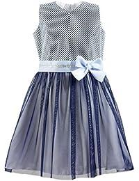 df1aa1f844b EU Ware AL-DA Mädchen Kleid Festlich Party Einschulung Hochzeit  Blumenmädchen Schleife Tüll Blau