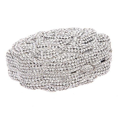 Bonjanvye Studded Rose Evening Purse Crystal Rhinestone Floral Clutch Bag AB Gold Pure silver