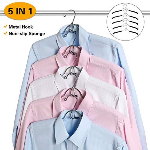 YifKoKo MEYUEWAL Zauber Kleiderbügel, Metall Kleiderbügel Multi-Felsen 5 in 1 Multilayer Eva Schwamm Anti-Rutsch Platzsparende für Erwachsene Jeans Shirts Hosen Mäntel -