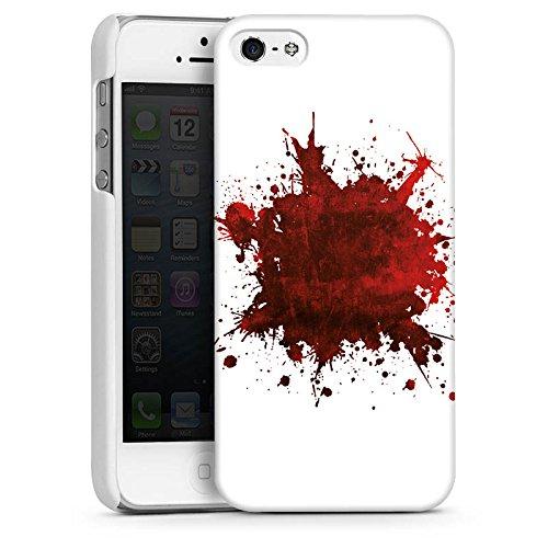 Apple iPhone 5s Housse Étui Protection Coque Sang Éclaboussure Grunge CasDur blanc