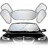 Sonnenblende 6tlg. Scheibenabdeckung auto Sonnenschutz Windschutzscheibe Faltbare Abnehmbare Sonnenblende Frontscheiben für Auto