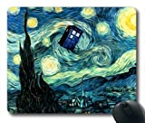 Doctor Who, Tardis and Van Gogh, Starry Night Oblong Mouse Pads