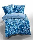 Etérea 2 tlg Renforcé Ornamente TRISA - Ganzjahres & 4-Jahreszeiten Bettwäsche-Set - Blau, 135x200 cm + 80x80 cm