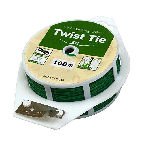 Couteau souple vert paquet multi-usage Jardinage Plante Twist Tie avec Cutter 100M Green