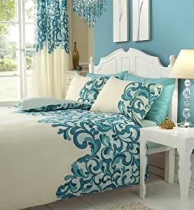 Teal Cream Double Bed Set With Matching Curtains 66 X 72 Sheet Kitchen Home