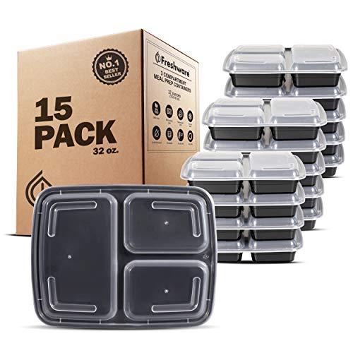 Freshware 153-compartments Bento Lunch Box Set mit Deckel, 32oz 15er-Pack schwarz Polycarbonat Food Storage Box