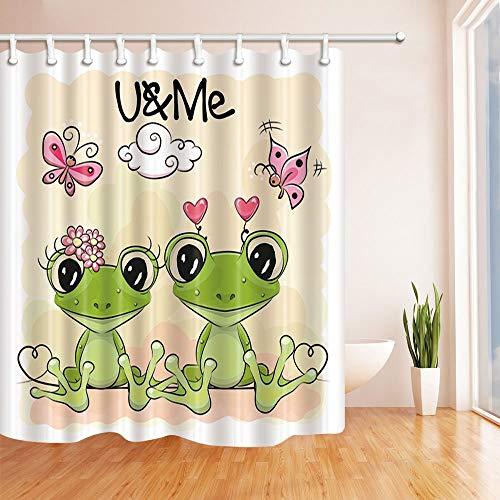 rikatur-Frösche auf Orange für Kinder Hintergrund Bad Vorhang Duschvorhang 180X180 cm Duschvorhänge Grün ()
