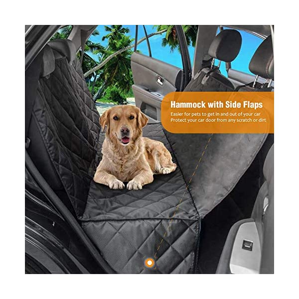 AMZPET Dog Car Seat Cover for Dogs, Waterproof with Door Protection, Durable Nonslip Scratch Proof Washable Pet Back Seat Cover. 3-in-1 Car Seat Protector, Boot Liner, Dog Travel Hammock for all Cars 3
